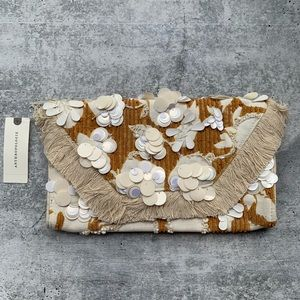 Anthropologie Rust New Beaded Embellished Clutch